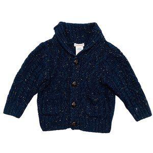Chunky Knit Navy Blue Grandpa Cardigan
